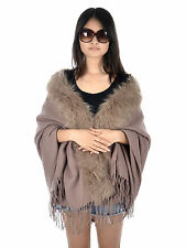 New Style Women's Fur Collar Trim Shawl with Fringed Edge Scarf Cape