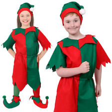 CHILDS ELF COSTUME CHRISTMAS FANCY DRESS WITH HAT & TIGHTS GIRLS BOYS XMAS S-XL