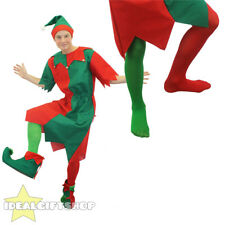 MENS ELF COSTUME CHRISTMAS FANCY DRESS WITH HAT & TIGHTS SANTA'S LITTLE HELPER