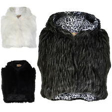 Ladies Faux Fur Cropped Hooded Womens Soft Warm Winter Gilet Jacket Size 8-14
