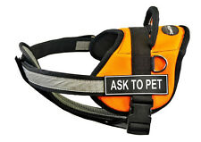 DT Works Chest Support Orange Dog Harness with Velcro Patches ASK TO PET