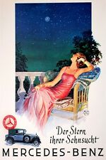 DREAMING LADY MERCEDES BENZ THE STAR OF YOUR DESIRE CAR VINTAGE POSTER REPRO