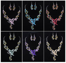 New Womens Ladies Butterfly Pendant Long Necklace Sweater Chain Set