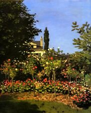 GARDEN IN BLOOM AT SAINTE ADDRESSE 1866 FRANCE PAINTING BY CLAUDE MONET REPRO