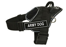 DT FUN Dog Harness in Reflective Trim with Velcro Patches ARMY DOG