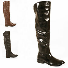 LADIES WOMENS BOOTS OVER THE KNEE THIGH HIGH FAUX LEATHER FLAT SHOES SIZE