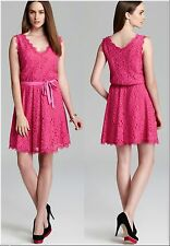 $345 Diane Von Furstenberg DVF Luella Deep Carnation Pink Lace Sleeveless Dress
