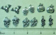 Halloween Day of the Dead Goth Silver Bead Charms Skeleton Skull Bat Wings UPick