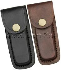 "Pocket Knife Multi Tool Sheath Pouch Case 4.25"" Formed Leather Belt Loop Snap"