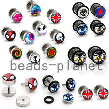 Pair Stainless Steel Fake Cheater Ear Stud Earring Illusion Flesh Plug Stretcher
