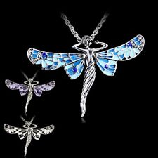 Girl Ladies Charms Angel Dragonfly Tibetan Silver Rhinestone Pendant Necklace