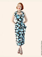 1950s Style Vivien of Holloway Sarong Blue Rose Rockabilly Hawaiian Cocktail