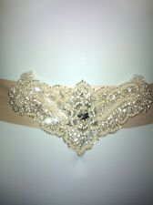 Diamante crystal  beaded champagne gold / cream bridal  wedding sash belt  NEW