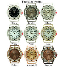 Ladies Geneva Round 2 Row CZ Coined Edge Solid Bar Beading Watch Faces 39mm
