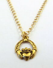 Gold Tone Pewter Claddagh Pendant on a Gold Tone Link Chain Necklace  -1787