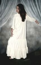 Q&I Renaissance Medieval Costume The Gaelic Chemise Ruffled Neckline Lace up Lk