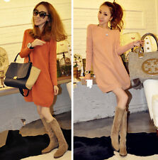 Hot Lady Woman Boat Neck Loose Thick Slim Pullover Wild Long Sweater Pink Orange