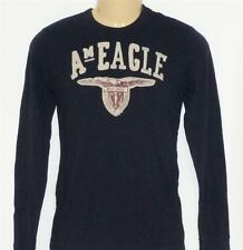 American Eagle Outfitters Applique Mens Dark Navy Long Sleeve Shirt New NWT