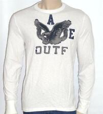 American Eagle Outfitters AEO Mens White Applique Long Sleeve T-Shirt New NWT