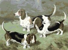 Basset Hounds ~ Victorian Dogs ~ Counted Cross Stitch Chart