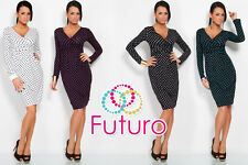☼ cocktail Femmes Col V Robe à pois ☼ Manches Longues Crayon Taille 8-12 8452