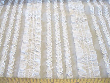 Discount Fabric Stretch Mesh Shimmering White Ruffled Lace LC380