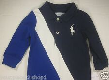 Polo Ralph Lauren Baby Boys One Piece Blue Long Sleeve Sash Big Pony Romper