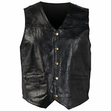 BLACK MEM'S GENUINE LEATHER MOTORCYCLE VEST
