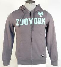 Zoo York Signature Gray Sherpa Lined Hooded Sweat Jacket Hoodie Mens NWT