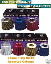 """3"""" CAR AIR FILTER HIGH PERFORMANCE 77MM INLET UTE 3 INCH VARIOUS COLOURS POD"""