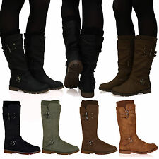 R9C Ladies Womens Mid-Calf Shealing Lined Zip Up Winter Buckle Boots Shoes Size