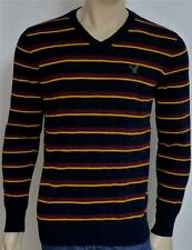 American Eagle Outfitters AEO Mens Navy Blue Stripe V-Neck Sweater New NWT