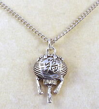 Pewter Chinese Lantern Charm on a Silver Plated Link Chain Necklace-1615