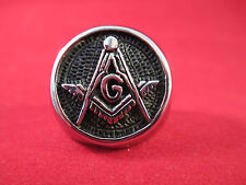 Men's Masonic Ring Stainless Steel Round Chiseled Front Design  Free Masons