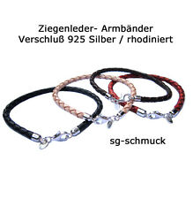 Bracelet Goat leather Leather wrist band Clasp Sterling Silver rhodium plated