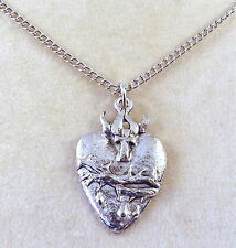 Pewter Sacred Heart Pendant on a  Silver Tone Link Chain Necklace -1898