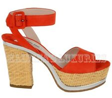 MIU MIU BY PRADA SHOES RED SUEDE LEATHER STRAP STRAW WOVEN PLATFORM