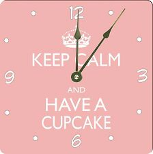 Rikki Knight Keep Calm and have a Cupcake Light Pink Color Wall Clock