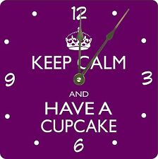 Rikki Knight Keep Calm and have a Cupcake - Purple Wall Clock