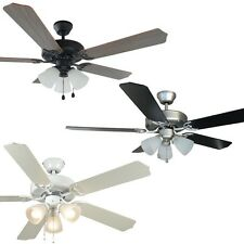 52 Inch Ceiling Fan with Light Kit - Satin Nickel, Oil Rubbed Bronze or White