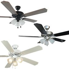 52 Inch Ceiling Fan with Light Kit - Oil Rubbed Bronze, Satin Nickel or White