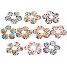 5pcs 25/30mm 2 Hole Colorful Pattern Wood Wooden Button For Scrapbooking Sewing