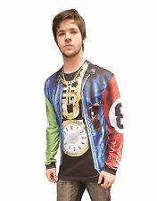 Faux Real Mens Old School Rapper Unusual Long Sleeved T-Shirt Party Stag