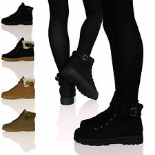 WOMENS LADIES THICK SOLE FUR CUFF TRAINERS LACE UP SHOES WINTER LINED BUCKLE D8Y