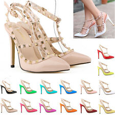 WOMENS 11CM 4.5INCH HIGH HEELS POINTED CORSET STYLE WORK PUMPS COURT SHOES UK2-9