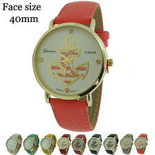 Geneva Platinum Round Anchor Style Leatherette Fashion Watch 40mm USA Seller