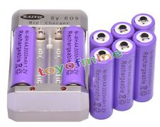 8x AA 2A Purple Color 1.2V Ni-MH 3000mAh Rechargeable Battery + Charger