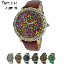 Actual Laid CZ Stones Dial Fancy Ladies Leather Fashion Watch 43mm USA Seller