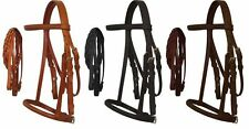 Mini Pony Cob Horse Light Dark Black Oil Leather English Bridle Headstall Reins