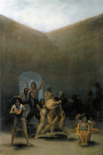 THE YARD OF A MADHOUSE MENTAL ASYLUM  TWO MEN FIGHTING PAINTING BY GOYA REPRO